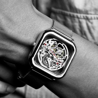 CIGA Design Full Hollow Mechanical Watches Silver