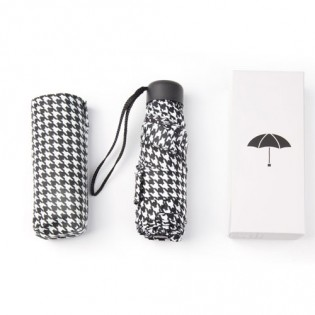 Pinluo Ultra Small Folding Umbrella Black/White Pied de Poule