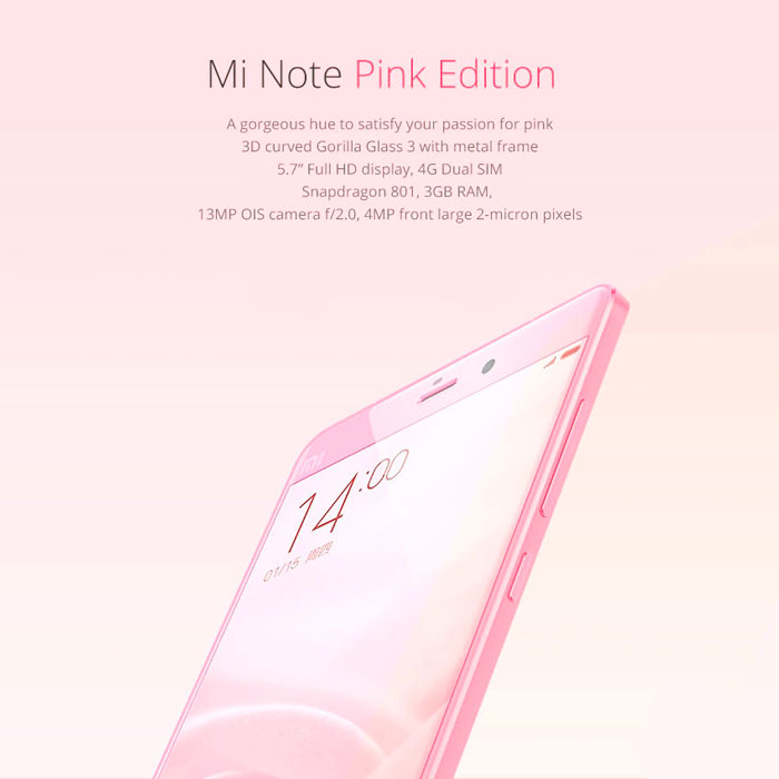 Buy Smartphone Xiaomi Mi Note 64gb Pink Goddess Edition
