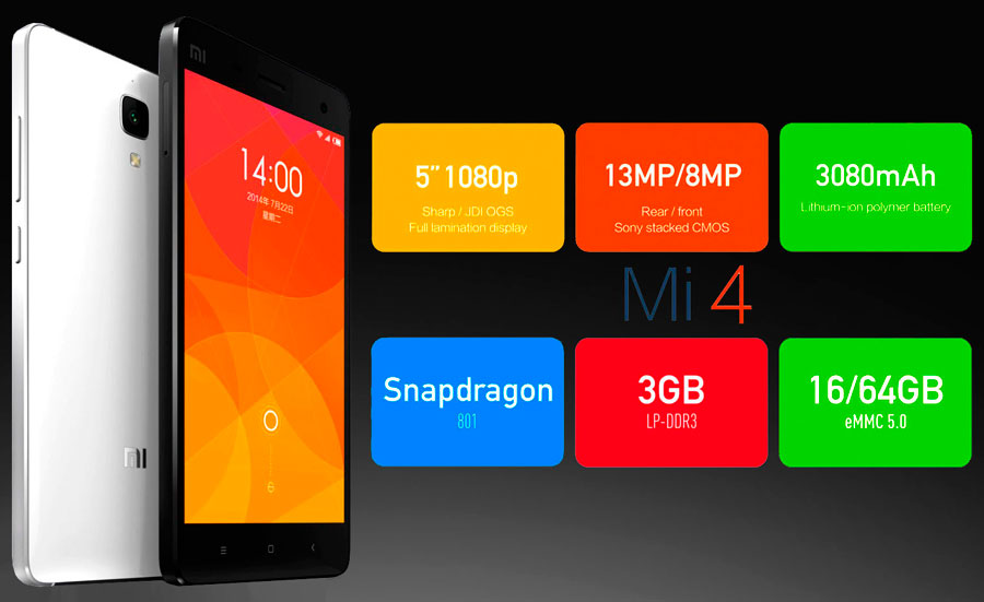 Buy Smartphone Xiaomi Mi4 64Gb black online  Price, Full