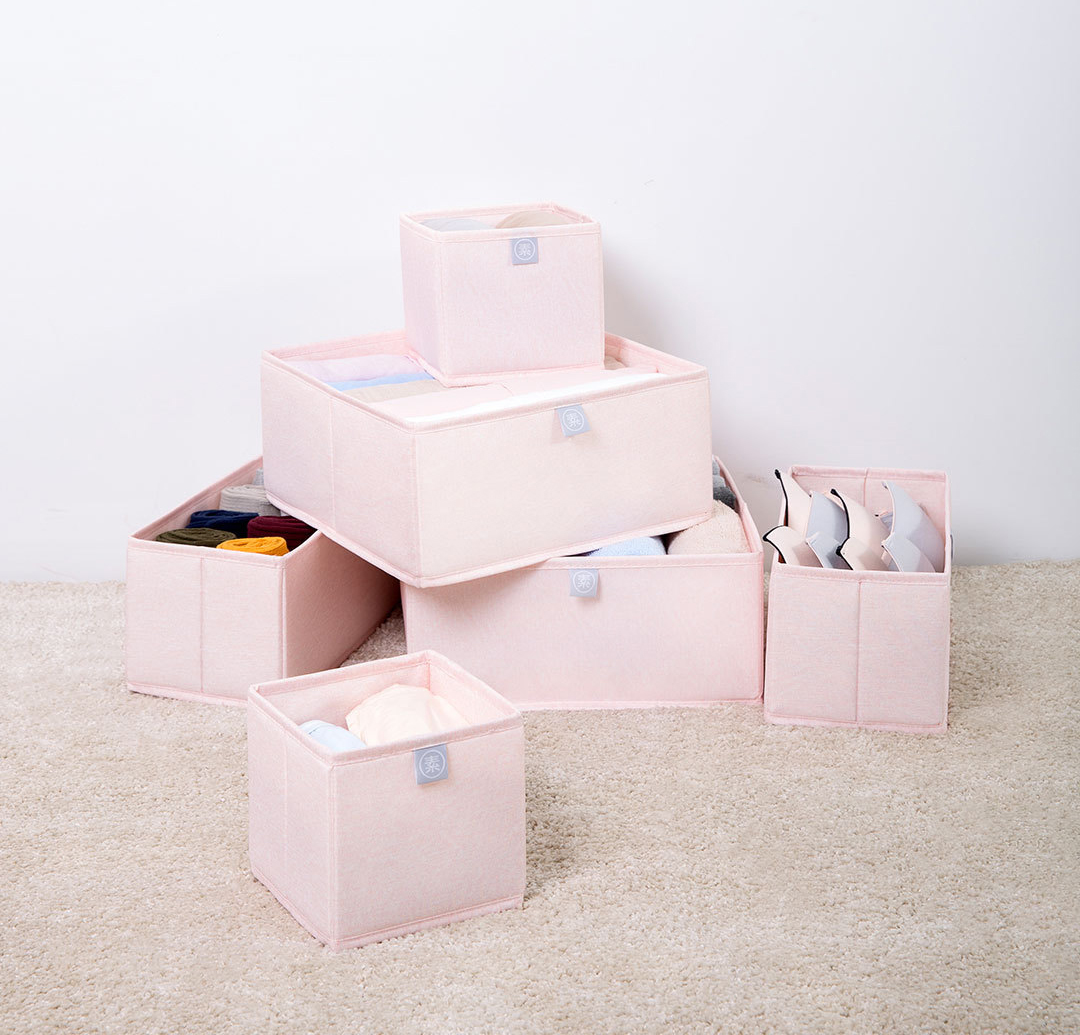 Xiaomi Nature Household 6 Piece Fabric Storage Bin Set Pink